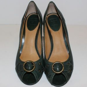 Frye Maya Peep Toe Low Kitten Heel Pumps size 8